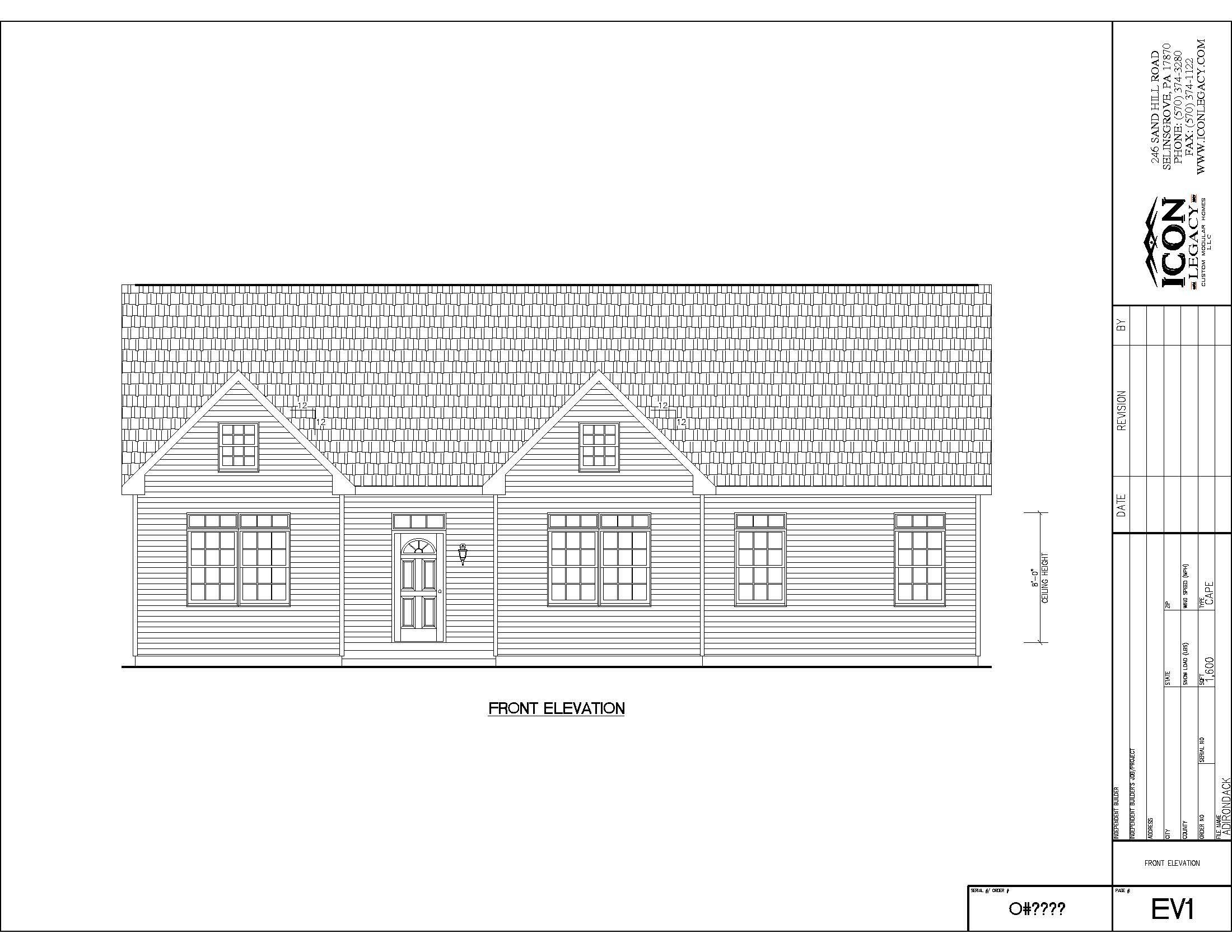 Adirondack modular home drawing