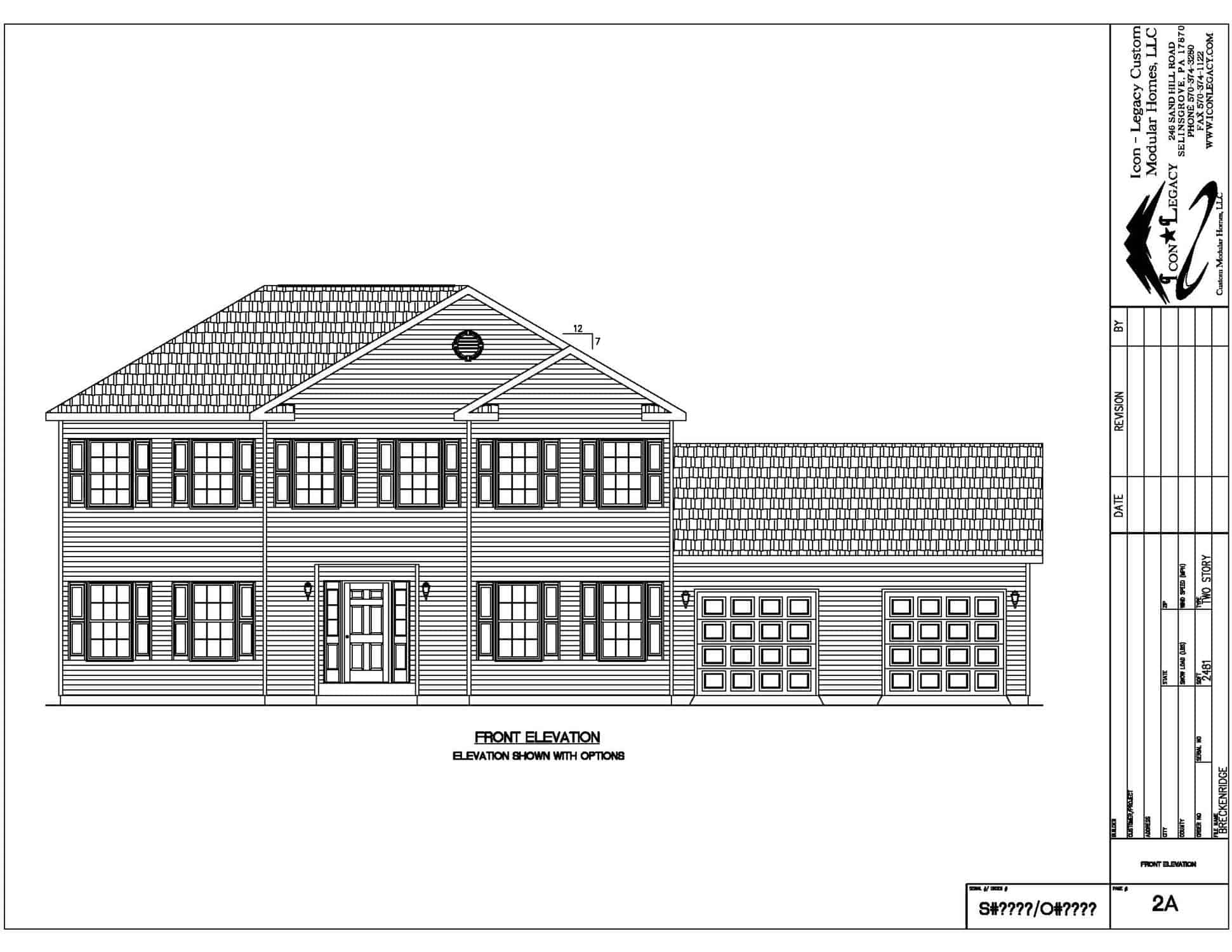 Nice modular home front elevation drawing